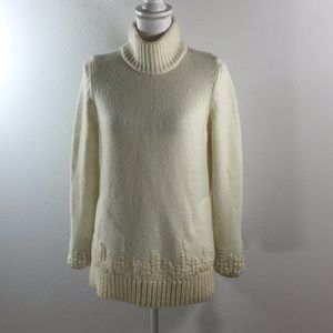 Anthropologie Ivory Chunky Turtleneck Wool Sweater